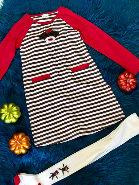 Fall Fun Stripped Monkey Dress With Tights - JEN'S KIDS BOUTIQUE