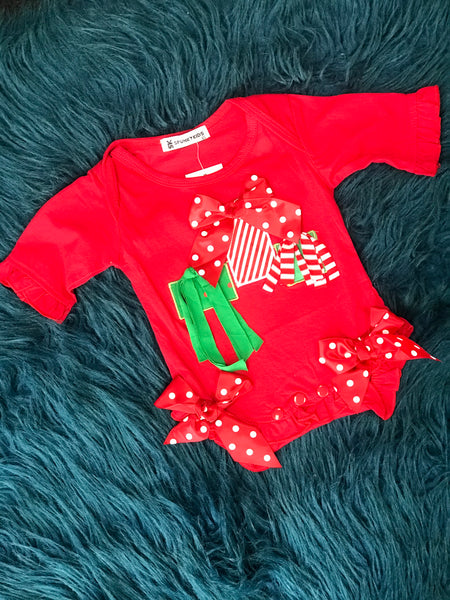 Spunky Kids Red Christmas Present Onesie CH