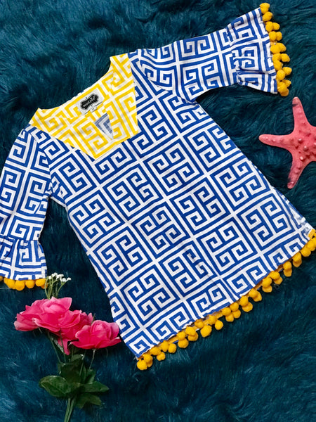 Mud Pie Blue Pom Pom Beach Cover - JEN'S KIDS BOUTIQUE