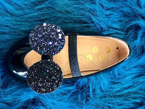 2018 Spring Lara Bebe Shining Black Patton Mouse Ears Girls Flats - JEN'S KIDS BOUTIQUE