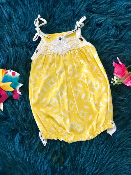 Molly & Millie Summer Yellow /White Infant Bubble C - JEN'S KIDS BOUTIQUE