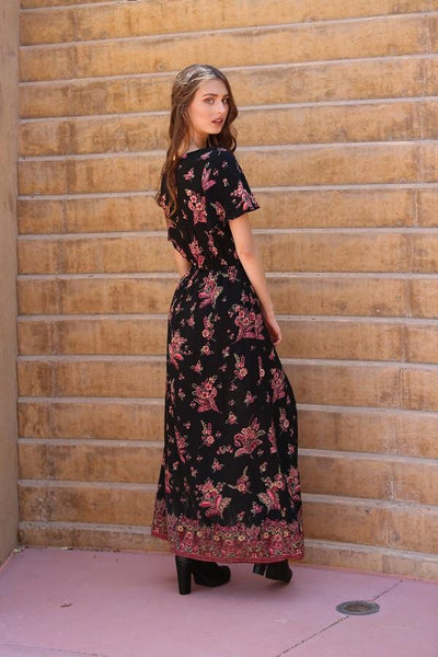 2018 Spring Women's Black Floral Maxi Romper With Surplus the New Misses Line - JEN'S KIDS BOUTIQUE