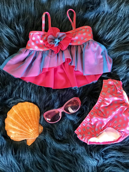 Summer Apple Blossom By Isobella & Chloe Hot Pink & Blue Two Piece Swimsuit S - JEN'S KIDS BOUTIQUE