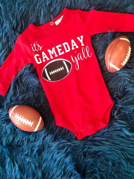 2018 Fall Infant It's Game Day Yall Long Sleeve Onesie - JEN'S KIDS BOUTIQUE