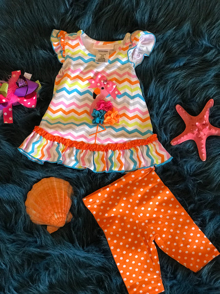 Summer Fun Colorful Flamingo Capri Set - JEN'S KIDS BOUTIQUE