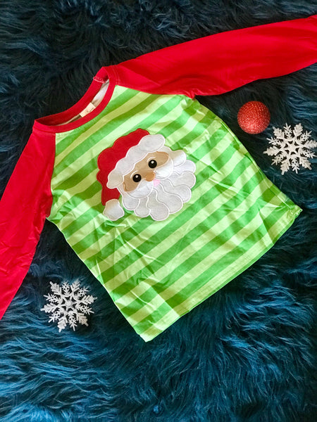 2018 Christmas Boys Stripped Green Santa Shirt - JEN'S KIDS BOUTIQUE