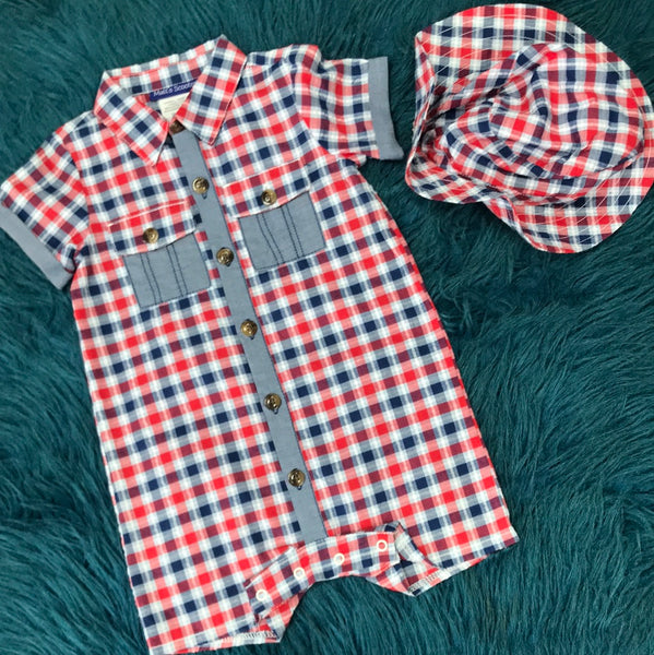 Matts Scooter Blue & Red Plaid Boys Romper