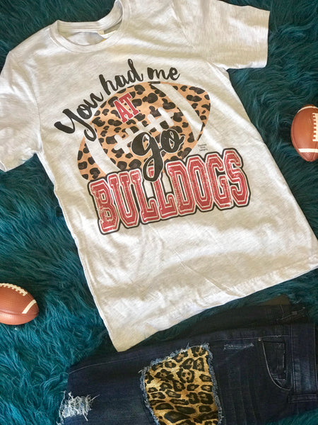 2018 Fall Football White & Red Cheetah You Had Me At Bulldogs Women's Shirt - JEN'S KIDS BOUTIQUE