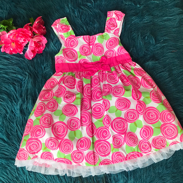 Spring White Dress w/ Pink Flowers CLS - JEN'S KIDS BOUTIQUE