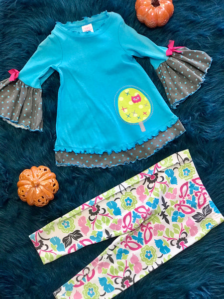 Molly & Millie By Peaches N Cream Owl/Tur Set - JEN'S KIDS BOUTIQUE