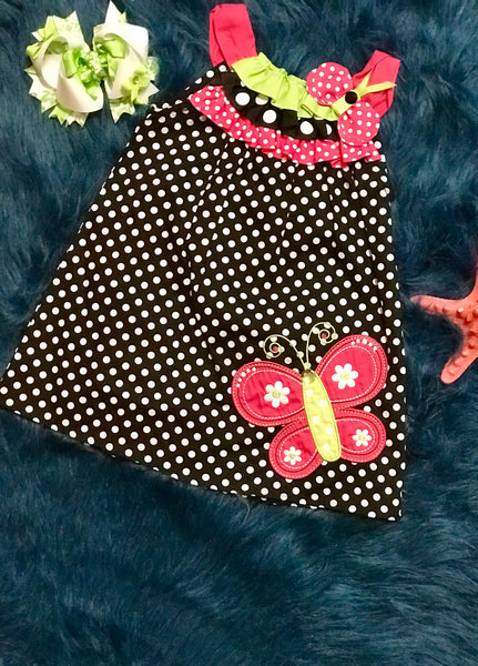 Spring Fun Adorable Black Polka Dot Butterfly Dress - JEN'S KIDS BOUTIQUE