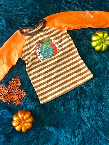 2018 Fall Boys Brown & Orange Pumpkin Stripped Boys Shirt - JEN'S KIDS BOUTIQUE