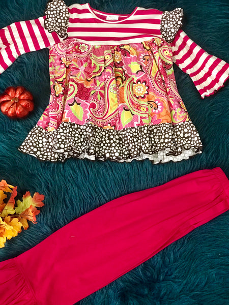 Millie Jay fall flower pink knit ruffle pant set. - JEN'S KIDS BOUTIQUE
