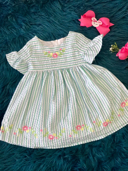2019 Spring & Summer Aqua Blue Sweet Striped & Flowers Infant Dress - JEN'S KIDS BOUTIQUE