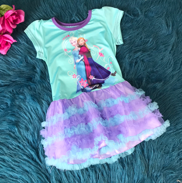 Light Blue Frozen Dress w/ Purple & Blue Tutu CLS