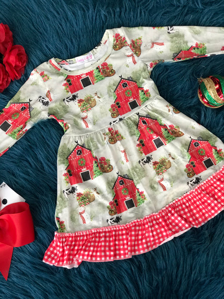 Clover Cottage Christmas Barn Ruffle Dress CH - JEN'S KIDS BOUTIQUE