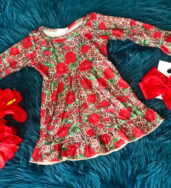 New Holiday Red Rose Cheetah Long Sleeve Dress - JEN'S KIDS BOUTIQUE