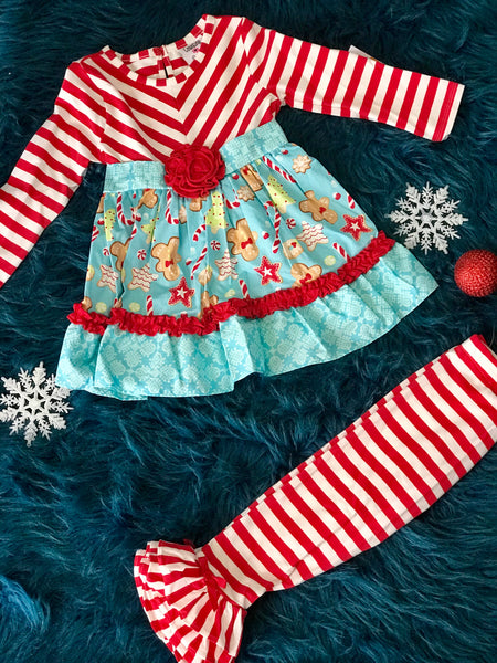 Christmas Counting Daisy Red Stripped With Turquoise Gingerbread Mixed Print - JEN'S KIDS BOUTIQUE