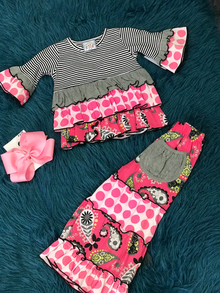 Three Sisters Black Stripped & Pink Ruffle Pant Set CLF - JEN'S KIDS BOUTIQUE