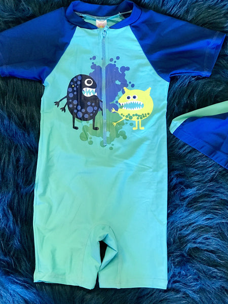 Summer UV Protected Boys Monster Zip Down The Front Swimming Suit with Hat - JEN'S KIDS BOUTIQUE