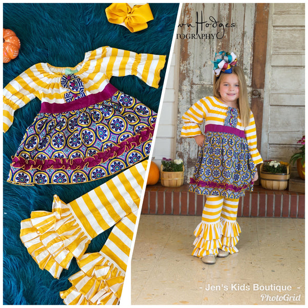 Fall Sage & Lilly Mardi Gas Parade Penny Peasant Set - JEN'S KIDS BOUTIQUE