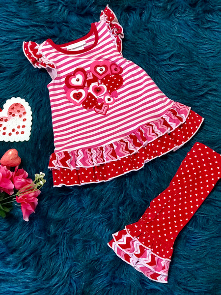 Valentines Stripped Red Heart Polka Dot Set - JEN'S KIDS BOUTIQUE