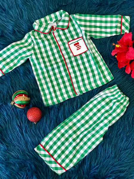 New Christmas Three Sisters Green Plaid Stocking Boys Pajamas C - JEN'S KIDS BOUTIQUE