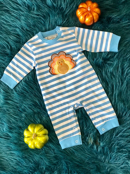 2018 Fall Three Sisters Boys Stripped Turkey Infant Romper - JEN'S KIDS BOUTIQUE