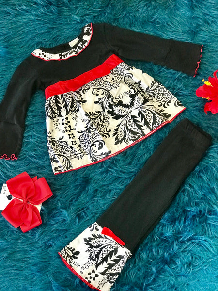 Fall Ann Loren Black & Red Design Ruffle Pant Set - JEN'S KIDS BOUTIQUE