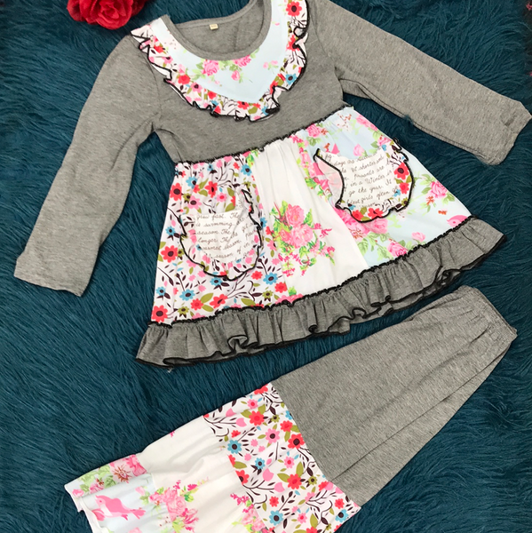 Grey & Floral Print Bell Pant Set F - JEN'S KIDS BOUTIQUE