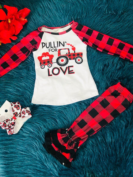 Cute Little Valentines Plaid Sleeve Pulling For Love Shirt - JEN'S KIDS BOUTIQUE