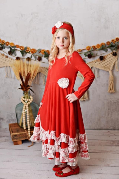 New Fall Serendipity Winter Enchantment Red Maxi Twirling Dress flower separate but available - JEN'S KIDS BOUTIQUE