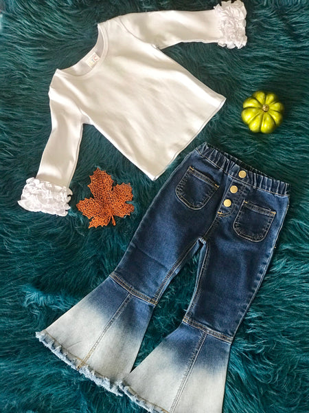 Fall White Ruffle Long Sleeve Shirt - JEN'S KIDS BOUTIQUE
