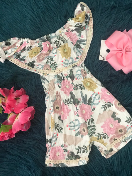 Spring Pretty Girls Floral Off the Shoulder Shorty By Mila Rose - JEN'S KIDS BOUTIQUE
