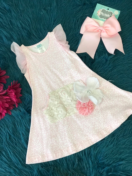 Summer Peaches & Cream Pink Cheetah Vintage & Floral Dress - JEN'S KIDS BOUTIQUE