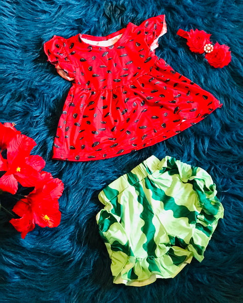 Watermelon Outfit Red Seed Shirt with Green Bottoms - JEN'S KIDS BOUTIQUE