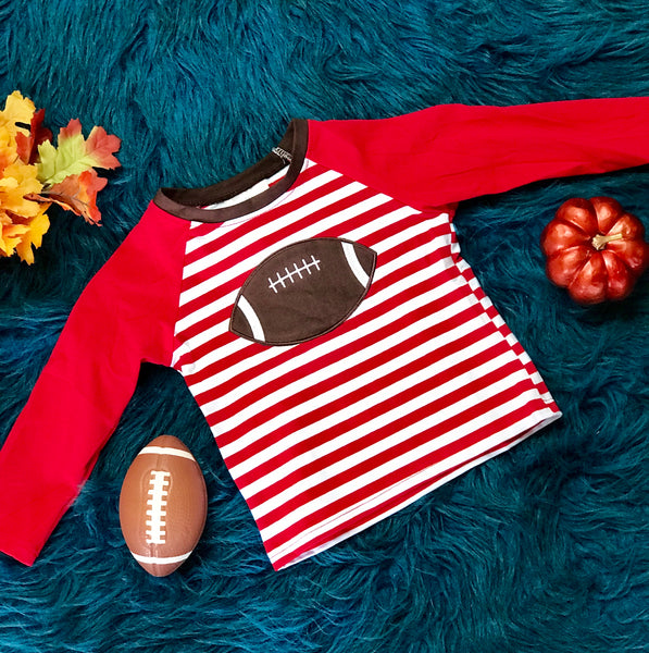 New Fall Boys Stripped Red & White Football Shirt - JEN'S KIDS BOUTIQUE