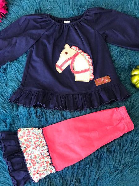 Millie Jay New Fall Horse Applique Top With Ruffles Pants - JEN'S KIDS BOUTIQUE