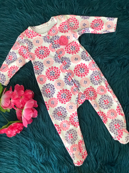 Pink & Purple Floral Infant Footie - JEN'S KIDS BOUTIQUE