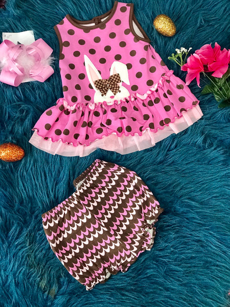 Easter Polka Dot Infant Brown Bunny Set With Bloomers  By Peaches N Cream C - JEN'S KIDS BOUTIQUE