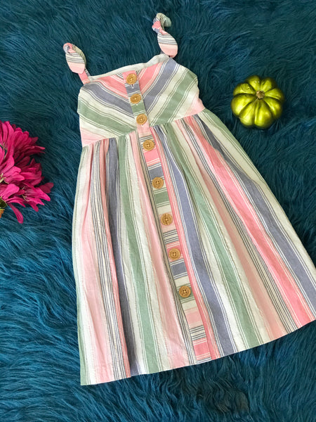 New Fall Cotton Mixed Stripped Sleeveless Dress - JEN'S KIDS BOUTIQUE