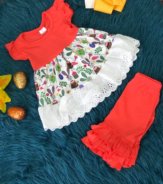 Easter Coral Bunny & Friends Ruffle Pant Set - JEN'S KIDS BOUTIQUE