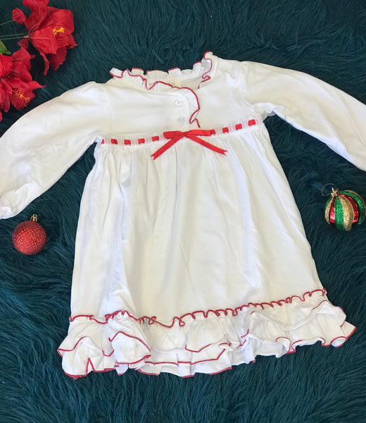 New Christmas & Valentines Girls Princess White & Red Ruffle Cotton Gown V - JEN'S KIDS BOUTIQUE