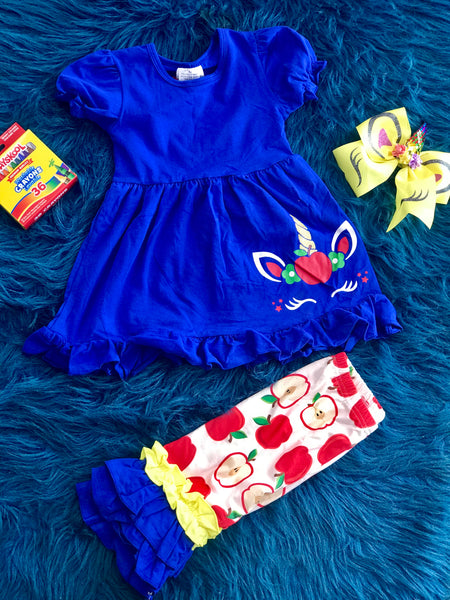 Back To School Apple Of My Eye Unicorn Capri Set - JEN'S KIDS BOUTIQUE