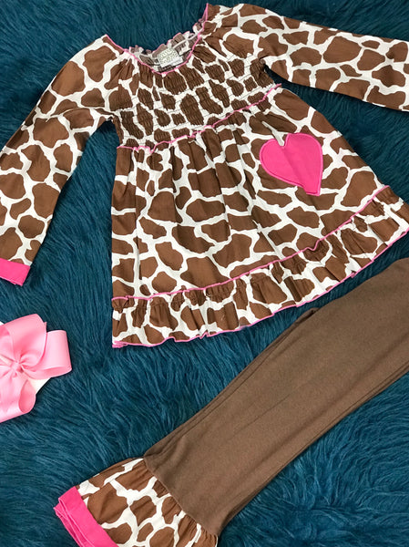 Ann Loren Brown & Pink Cowgirl Pant Set CLF - JEN'S KIDS BOUTIQUE