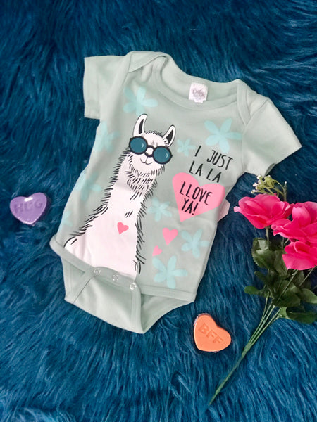 Green I Just La La LLove Ya Romper - JEN'S KIDS BOUTIQUE