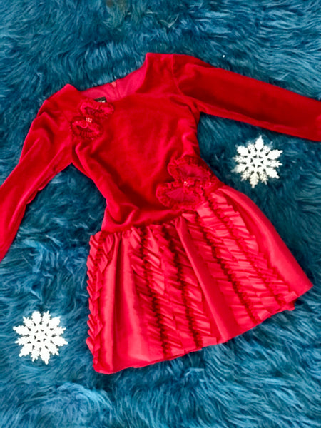 Isobella & Chloe Red Velvet Dress - JEN'S KIDS BOUTIQUE