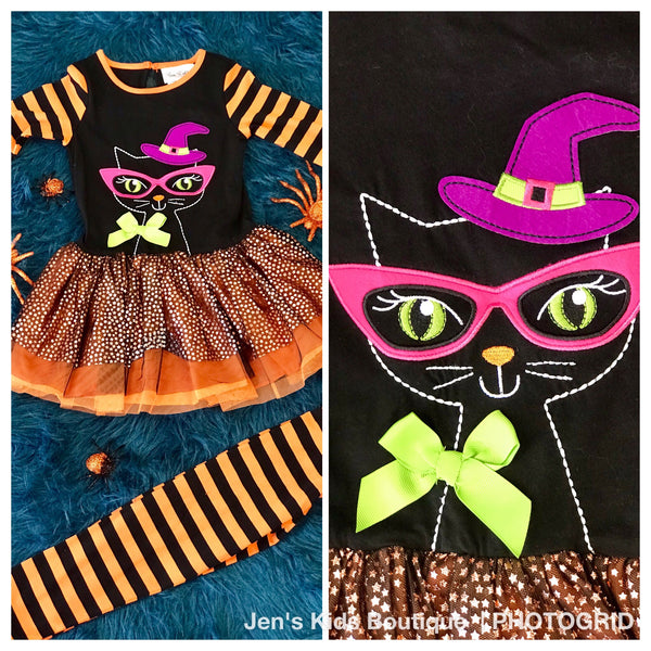 Fall Halloween Smart Cat Tutu Set - JEN'S KIDS BOUTIQUE