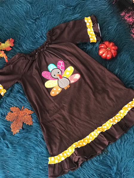 Three Sisters Brown Turkey Applique Dress CLF - JEN'S KIDS BOUTIQUE