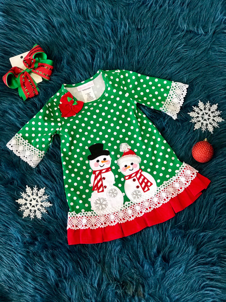 Christmas Green Snowman Dress CH - JEN'S KIDS BOUTIQUE